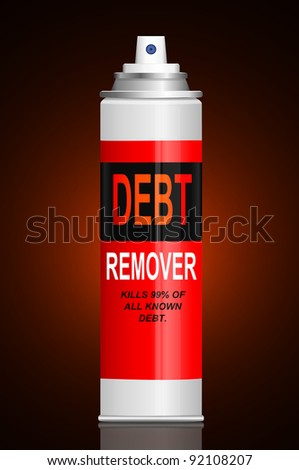 Illustration depicting a single aerosol spray can with the words 'debt remover'. Dark glow background.