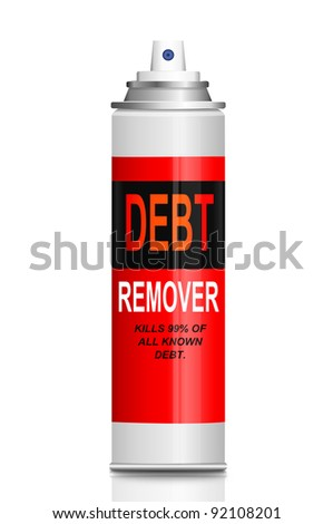 Illustration depicting a single aerosol spray can with the words 'debt remover'. White background.