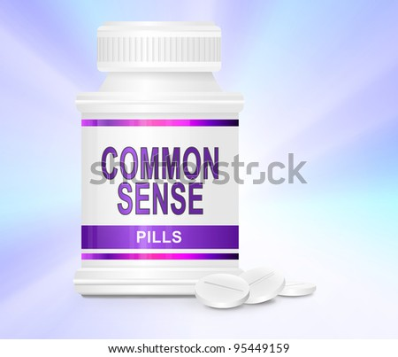 Illustration depicting a single medication container with the words 'common sense pills' on the front with subtle pastel light effect background and a few tablets in the foreground.