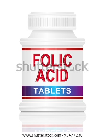 Illustration depicting a single medication container with the words 'folic acid tablets' on the front with white background.