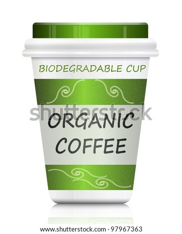 Illustration depicting a single organic coffee take out biodegradable container arranged over white.