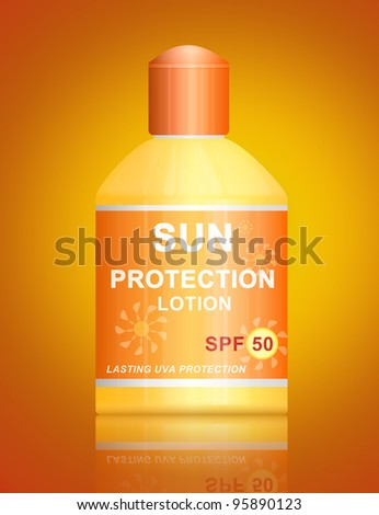 Illustration depicting a single uva SPF 50 sun protection lotion bottle arranged over vibrant golden background.