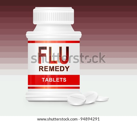Illustration depicting a single white and red medication container with the words \'flu remedy tablets\' on the front with red gradient stripe background and a few tablets in the foreground.