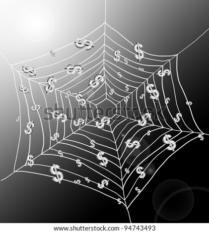 Illustration depicting a spiderweb with Dollar signs trapped by the threads. Dark with strong sunlight background.