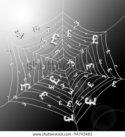 Illustration depicting a spiderweb with Pound signs trapped by the threads. Dark with strong sunlight background.