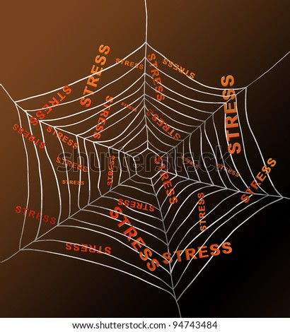 Illustration depicting a spiderweb with the words 'stress' trapped by the threads. Dark background.