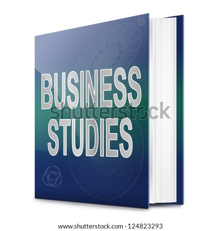 Illustration depicting a text book with a business studies concept title. White background.