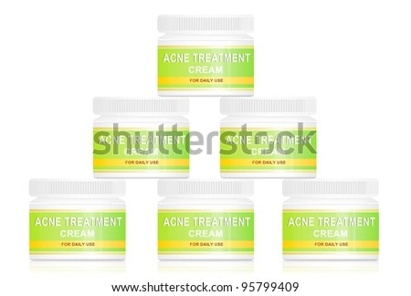 Illustration depicting acne cream product containers arranged in a pyramid formation over white.