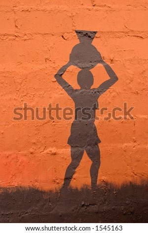 Illustration depicting an African woman carrying a clay pot on her head
