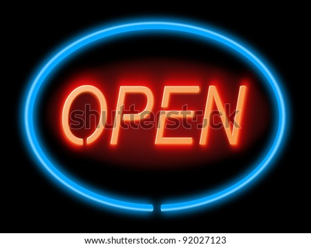 Illustration depicting an illuminated blue and red 'open' sign with black background,