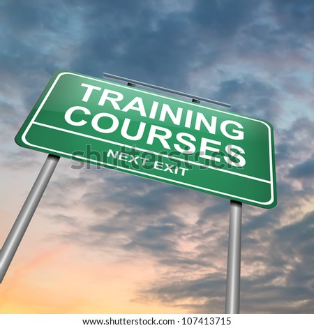 Illustration depicting an illuminated green roadsign with a training courses concept. Dramatic sunset sky background.