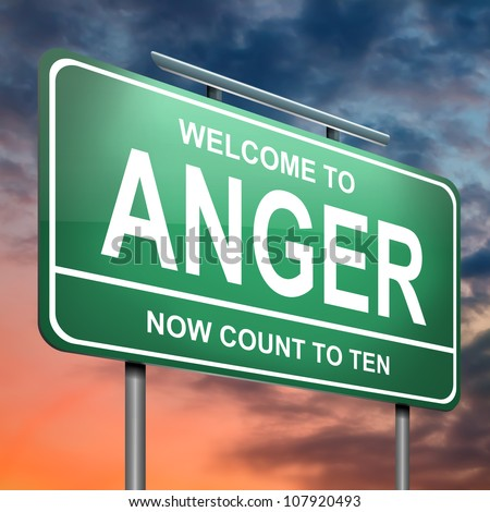 Illustration depicting an illuminated green roadsign with an anger concept. Dramatic sky background. - stock photo