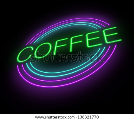 Illustration depicting an illuminated neon coffee sign.