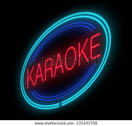 Illustration depicting an illuminated neon karaoke sign.