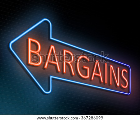 Illustration depicting an illuminated neon sign with a bargains concept.