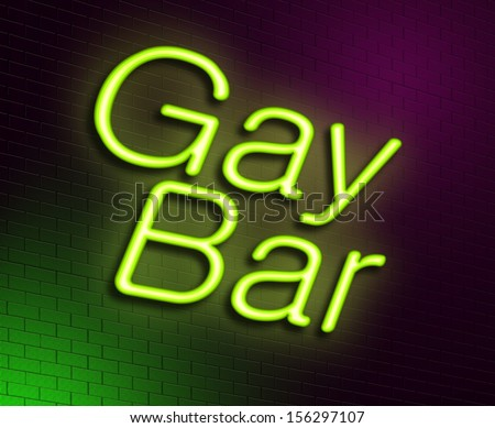 Illustration depicting an illuminated neon sign with a gay bar concept.