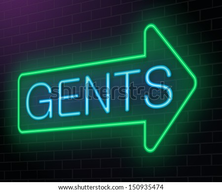 Illustration depicting an illuminated neon sign with a gents concept.