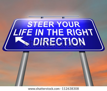 Illustration depicting an illuminated roadsign with a life direction concept. Dusk sky background.