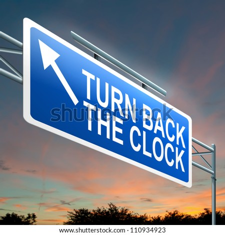 Illustration depicting an illuminated roadsign with a turn back the clock concept. Dark sunset sky background.