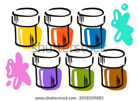 Illustration depicting cans with bright colours  of paints on a white background