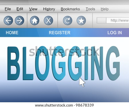 Illustration depicting computer screen shot of an internet browser with a blogging concept.