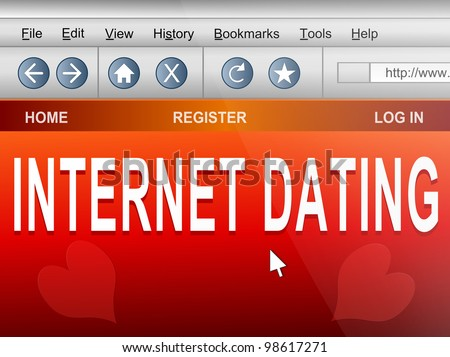 Illustration depicting computer screen shot of an internet browser with an internet dating concept.