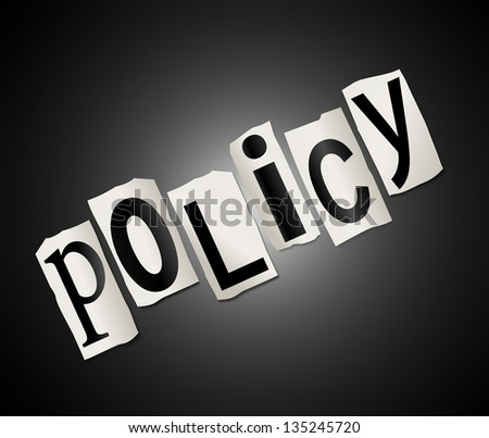 Illustration depicting cut out letters arranged to form the word policy.