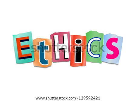 Illustration depicting cutout printed letters arranged to form the word ethics. - stock photo