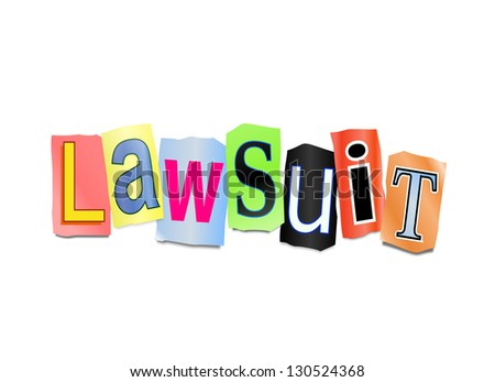 Illustration depicting cutout printed letters arranged to form the word lawsuit.