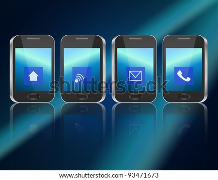 Illustration depicting four illuminated communication devices with various icon displays arranged horizontally over dark blue background and reflecting into the foreground.