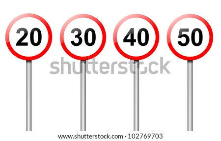 Illustration depicting four speed limit road signs arranged over white.