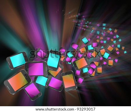 Illustration depicting many illuminated communication devices giving the appearance of being in motion against a dark and blurred background.
