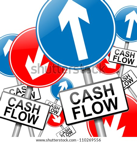 Illustration depicting many roadsigns with a cash flow concept. White background.