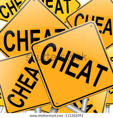 Illustration depicting many roadsigns with a cheat concept.