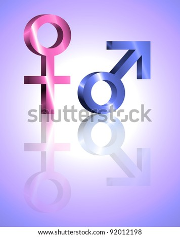 Illustration depicting metallic blue and pink male and female symbols against violet blur background and reflecting into the foreground.
