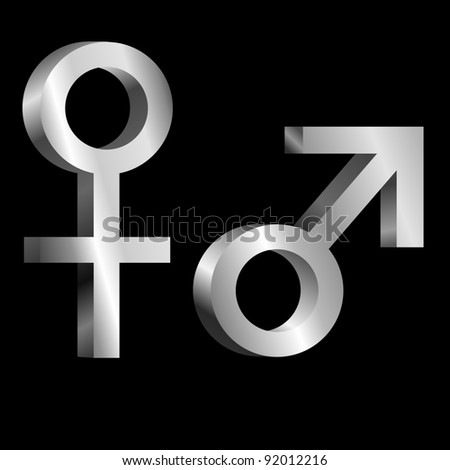 Illustration depicting metallic male and female symbols arranged over black.