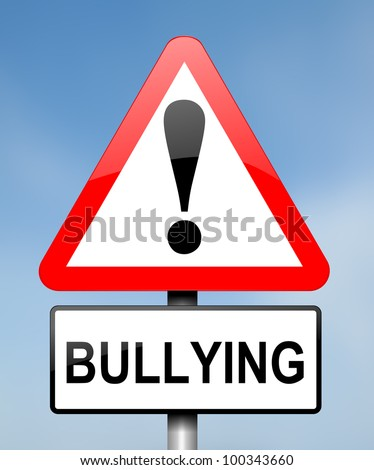 Illustration depicting red and white triangular warning road sign with a bullying concept. Blue blurred background. - stock photo