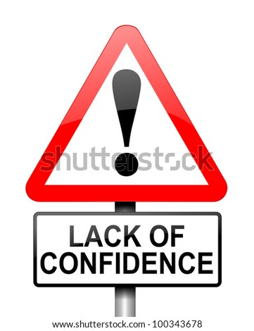 Illustration depicting red and white triangular warning road sign with a confidence concept. White background.