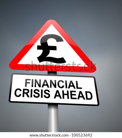 Illustration depicting red and white triangular warning road sign with a financial crisis concept. Blurred dark background.
