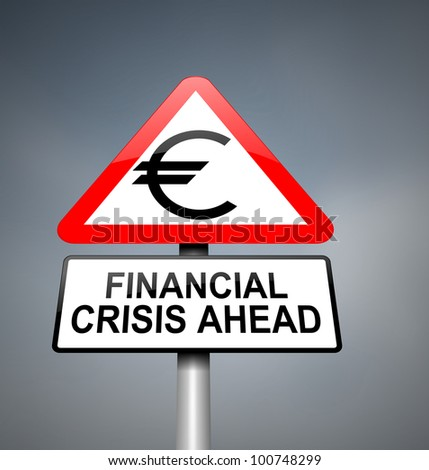 Illustration depicting red and white triangular warning road sign with a financial crisis concept. Blurred dark background. - stock photo