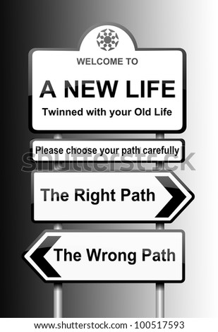 Illustration depicting road signs with a life change concept. Black to white gradient background.