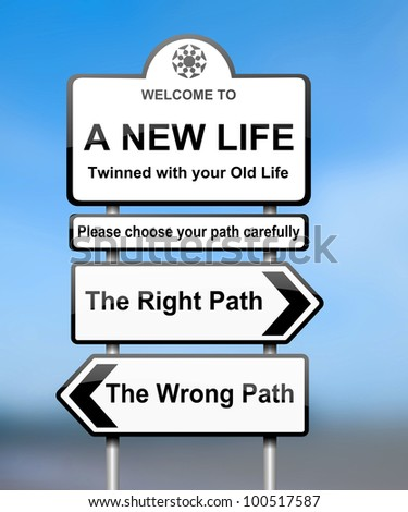 Illustration depicting road signs with a life change concept. Blurred background.
