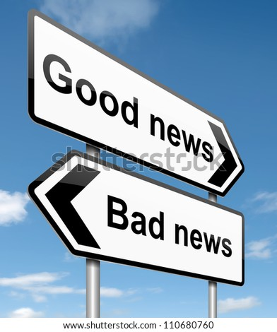 Illustration depicting roadsigns with a news concept. Blue sky  background.