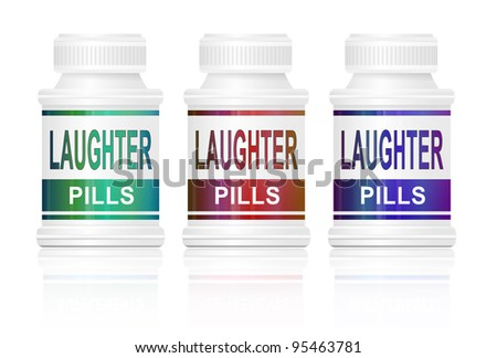 Illustration depicting three medication containers with 'laughter pills' labels. White background.