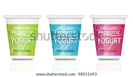 Illustration depicting three organic probiotic yogurt containers arranged over white. - stock photo