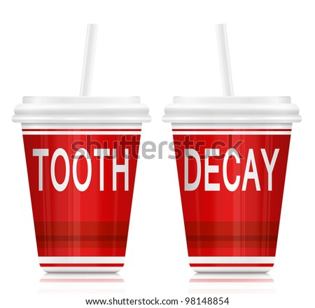 Illustration depicting two drink containers with a tooth decay concept arranged over white.
