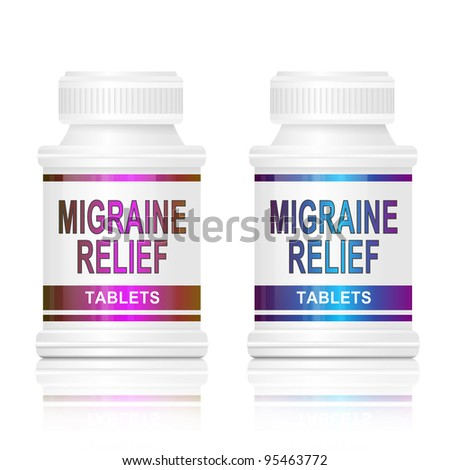Illustration depicting two medication containers with the words 'migraine relief tablets' on the front with white background.