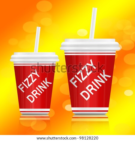 Illustration depicting two plastic fizzy drink containers with straws. Vibrant abstract yellow background.