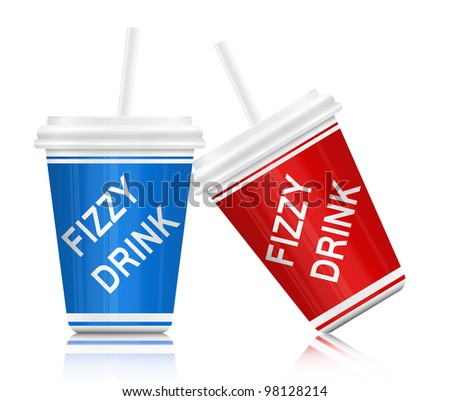 Illustration depicting two plastic fizzy drink containers with straws. White background.