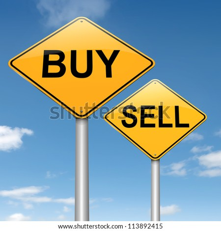 Illustration depicting two roadsigns with a buy or sell concept. Sky background.